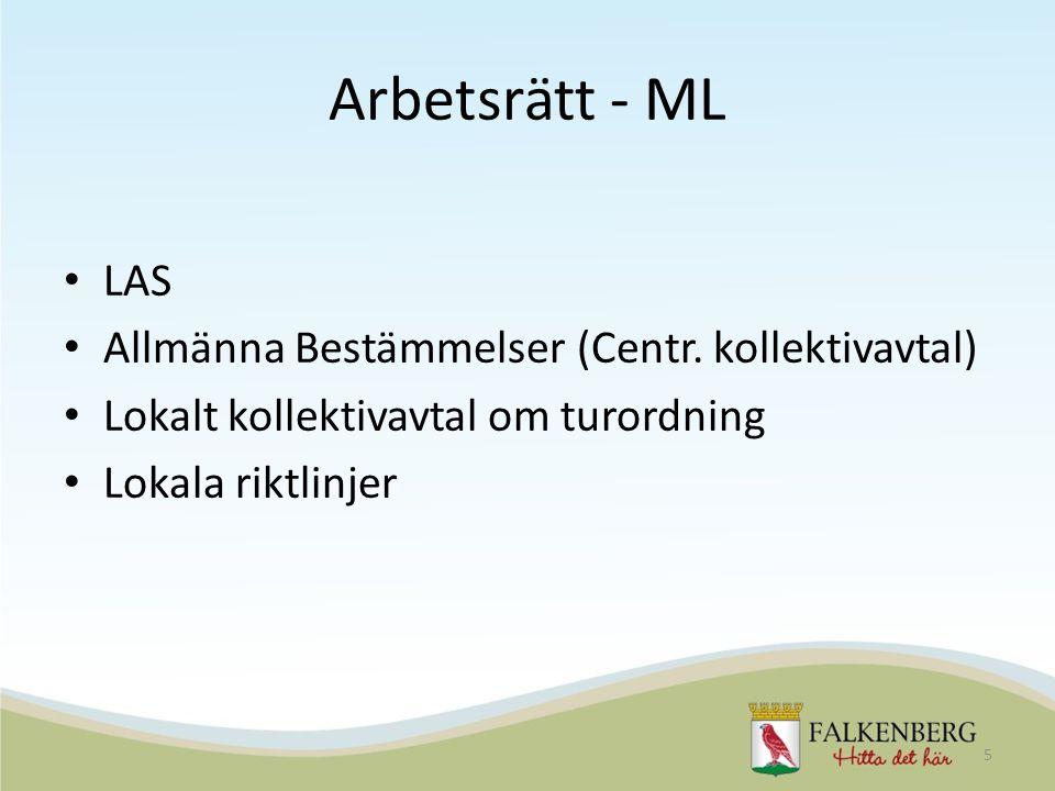 Arbetsrätt - ML LAS Allmänna Bestämmelser (Centr. kollektivavtal)