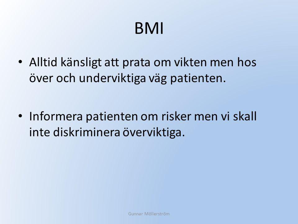 BMI Alltid känsligt att prata om vikten men hos över och underviktiga väg patienten.