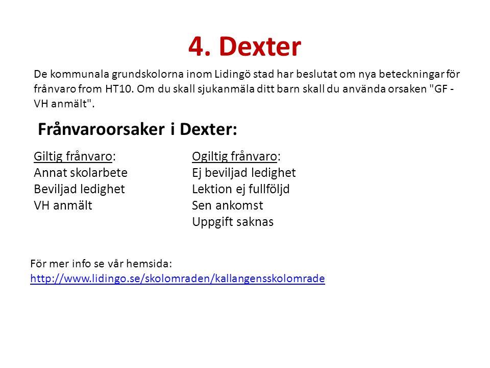 4. Dexter Frånvaroorsaker i Dexter: Giltig frånvaro: Annat skolarbete
