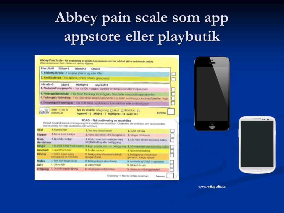 Abbey pain scale som app appstore eller playbutik