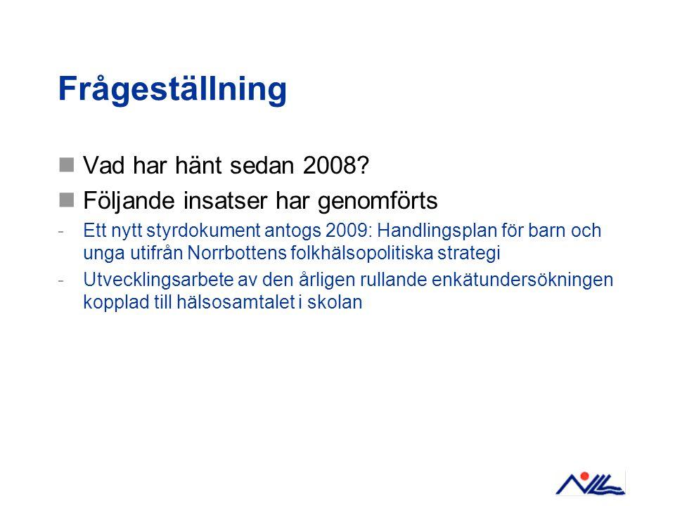 Frågeställning Vad har hänt sedan 2008