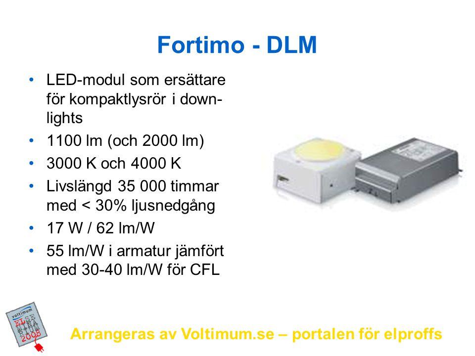 Fortimo - DLM LED-modul som ersättare för kompaktlysrör i down-lights