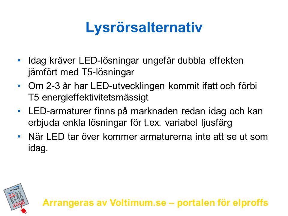 Lysrörsalternativ Idag kräver LED-lösningar ungefär dubbla effekten jämfört med T5-lösningar.