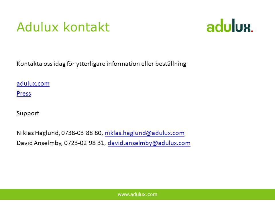 Adulux kontakt