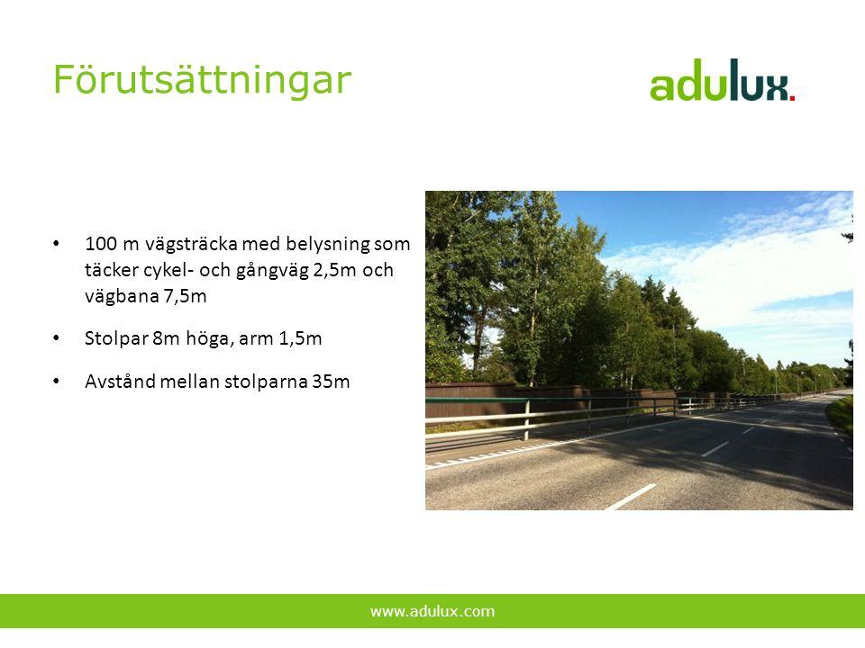 Förutsättningar 100 m vägsträcka med belysning som täcker cykel- och gångväg 2,5m och vägbana 7,5m.