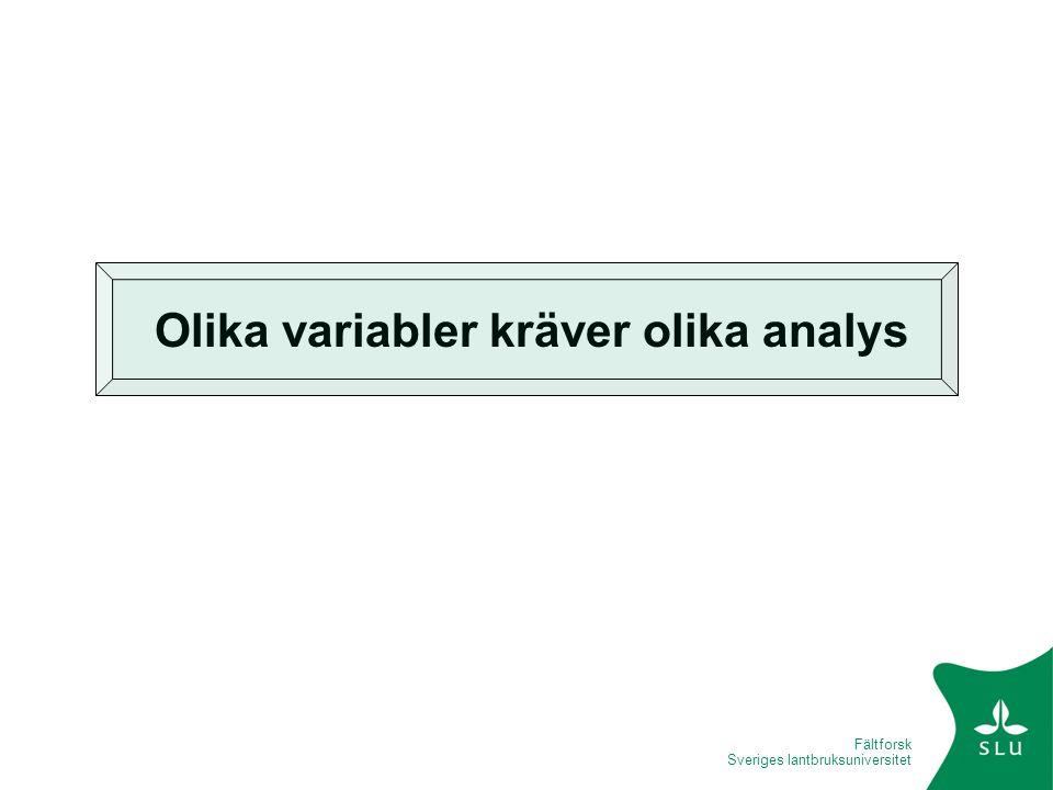 Olika variabler kräver olika analys