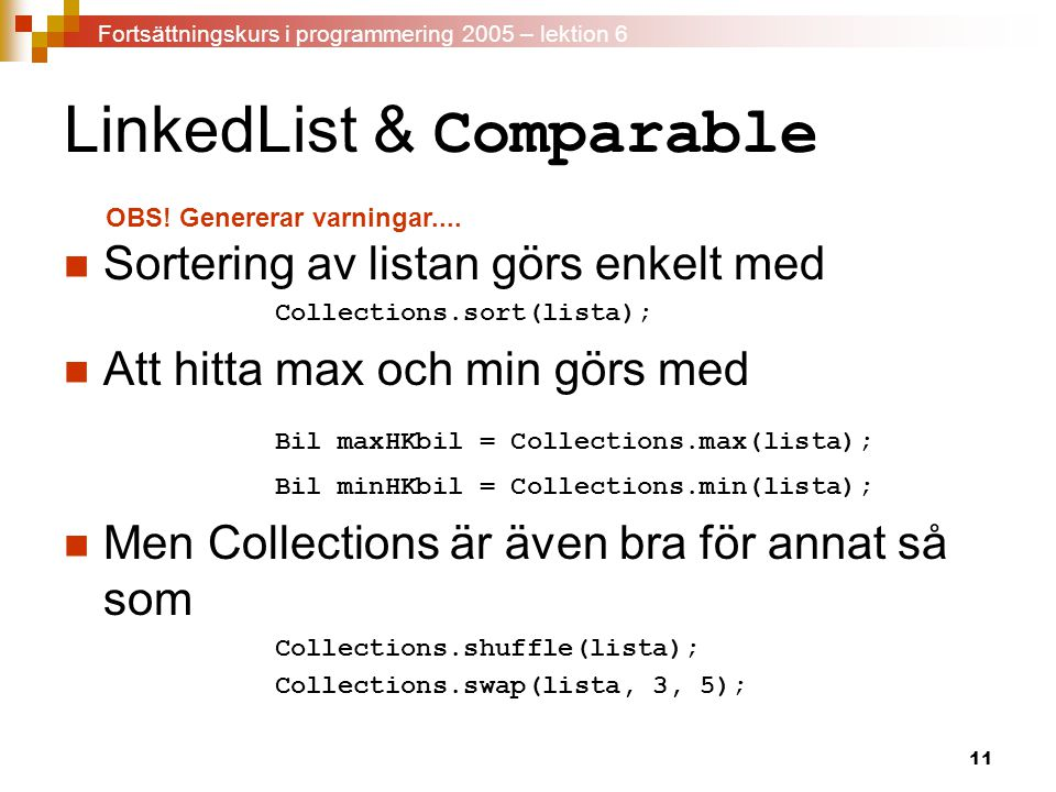 LinkedList & Comparable