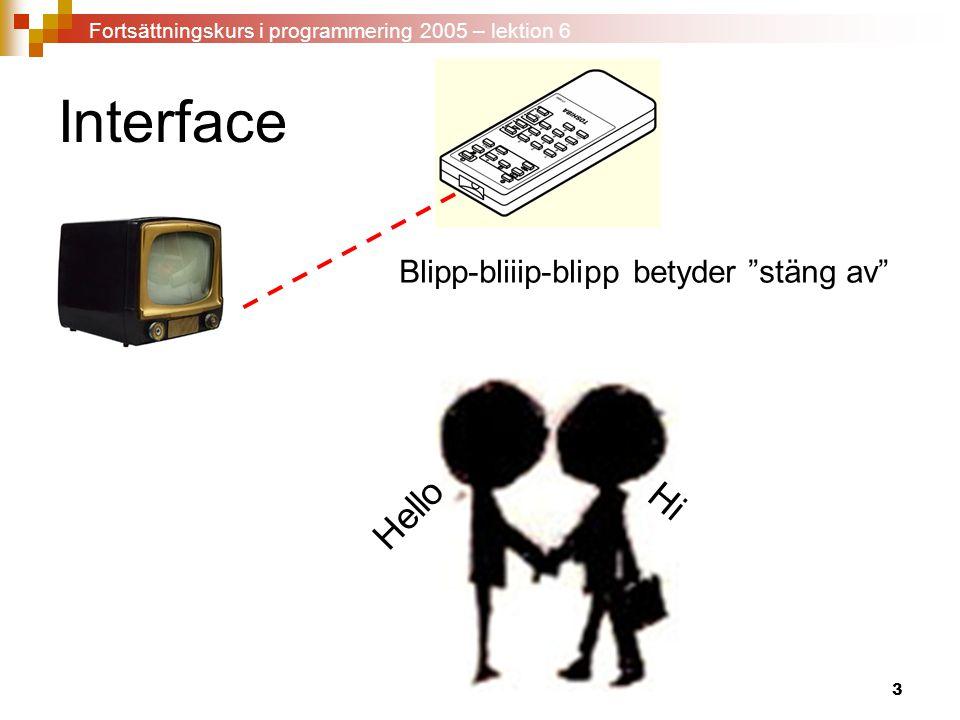 Interface Hello Hi Blipp-bliiip-blipp betyder stäng av