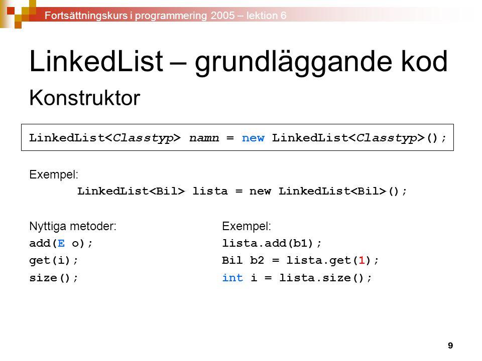 LinkedList – grundläggande kod