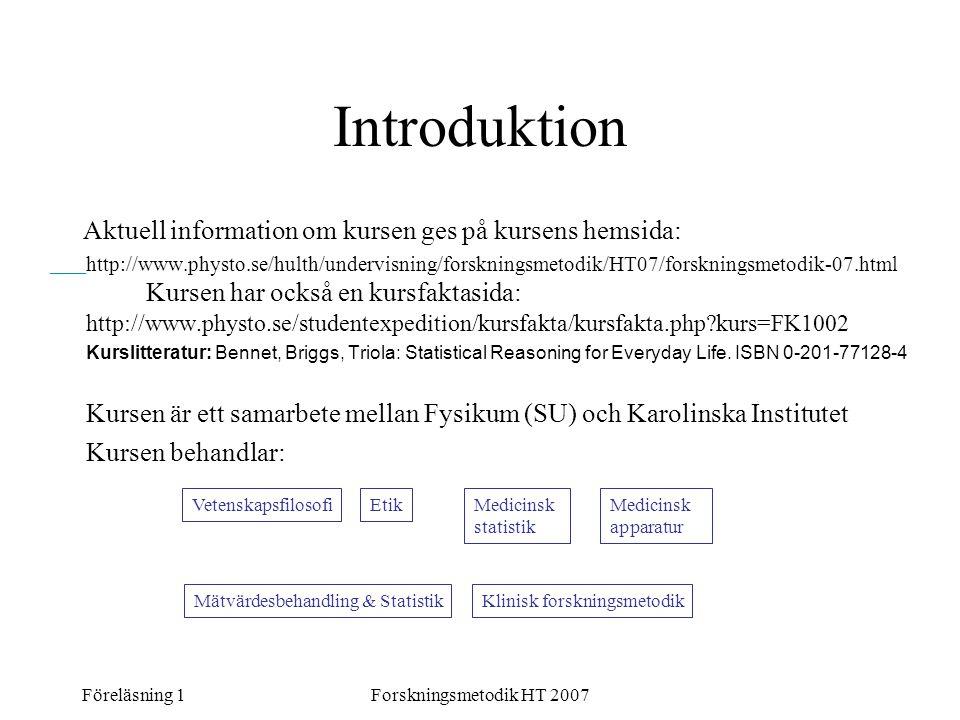 Introduktion Aktuell information om kursen ges på kursens hemsida: