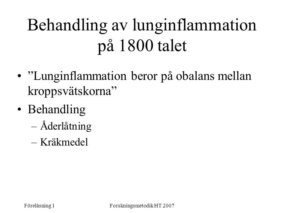 Behandling av lunginflammation på 1800 talet