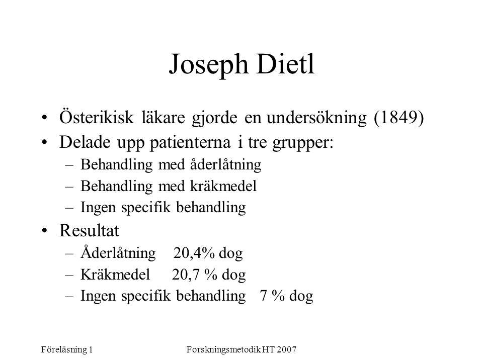 Joseph Dietl Österikisk läkare gjorde en undersökning (1849)