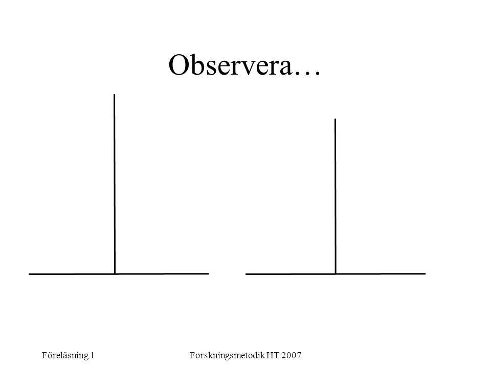 Observera… Föreläsning 1 Forskningsmetodik HT 2007