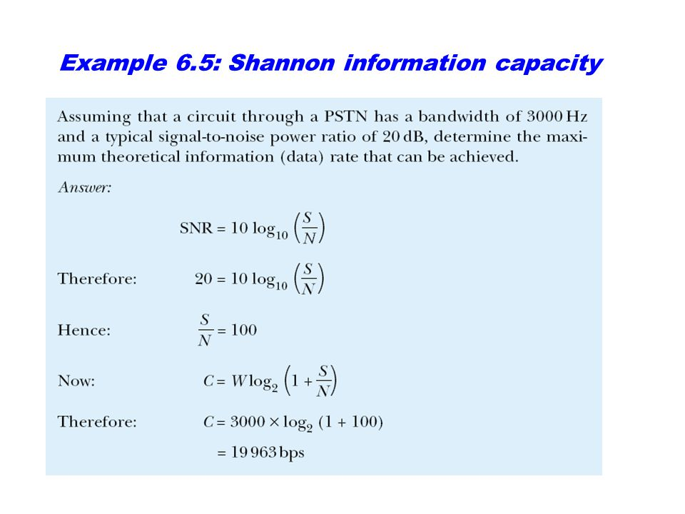Example 6.5: Shannon information capacity