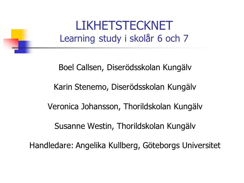 LIKHETSTECKNET Learning study i skolår 6 och 7