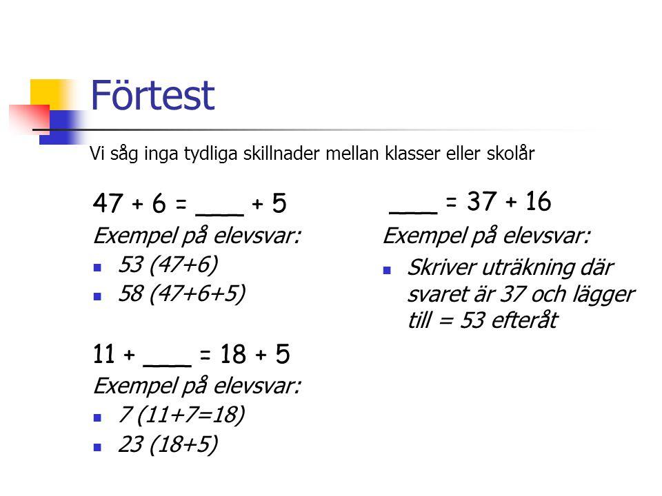 Förtest ___ = 37 + 16 47 + 6 = ___ + 5 11 + ___ = 18 + 5