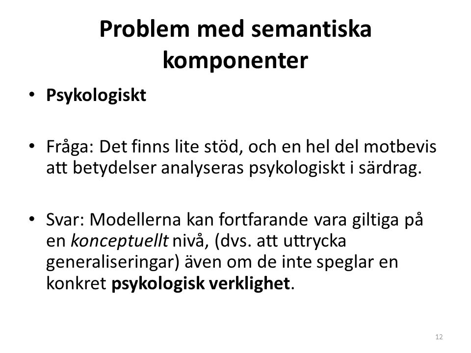 Problem med semantiska komponenter