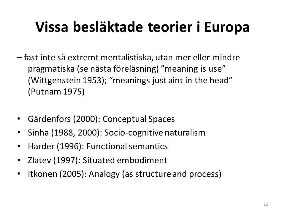 Vissa besläktade teorier i Europa