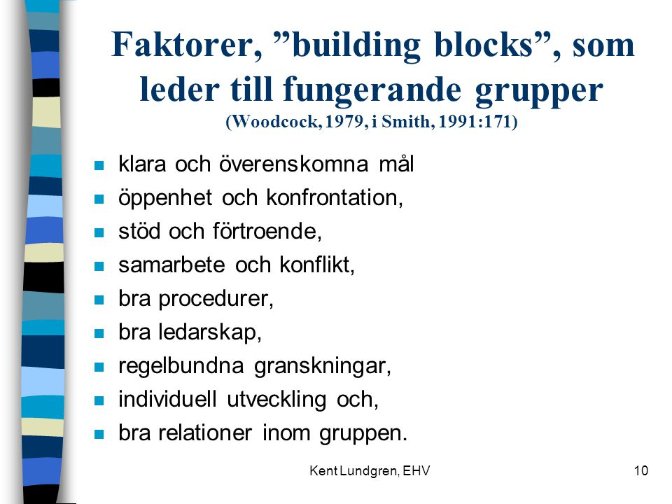 Faktorer, building blocks , som leder till fungerande grupper (Woodcock, 1979, i Smith, 1991:171)
