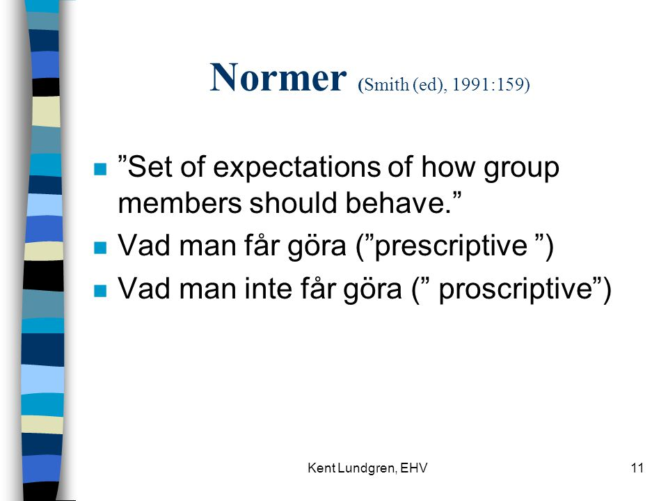 Normer (Smith (ed), 1991:159) Set of expectations of how group members should behave. Vad man får göra ( prescriptive )