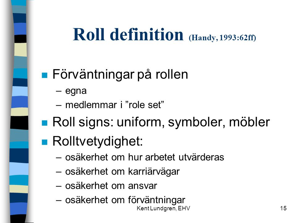 Roll definition (Handy, 1993:62ff)