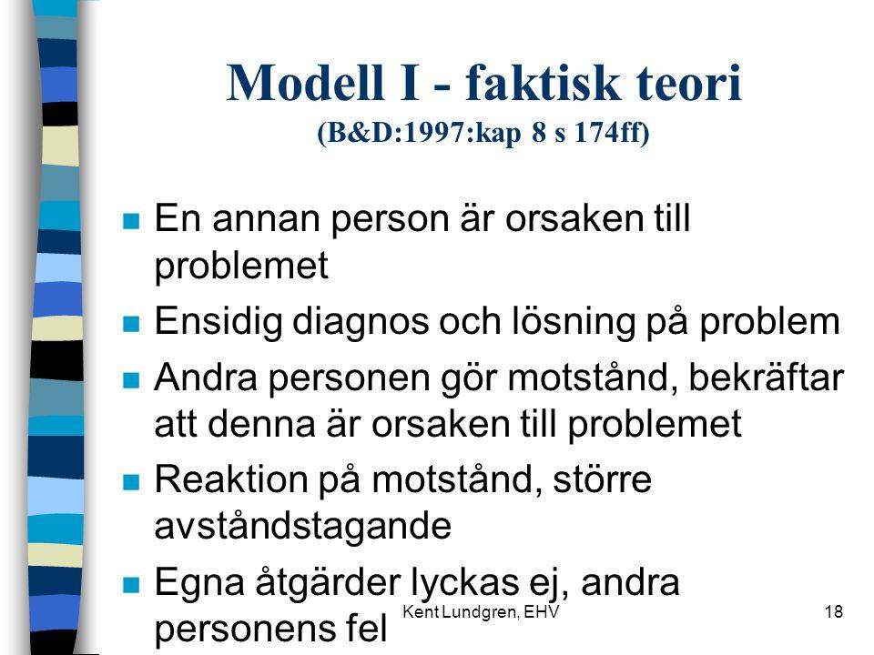Modell I - faktisk teori (B&D:1997:kap 8 s 174ff)