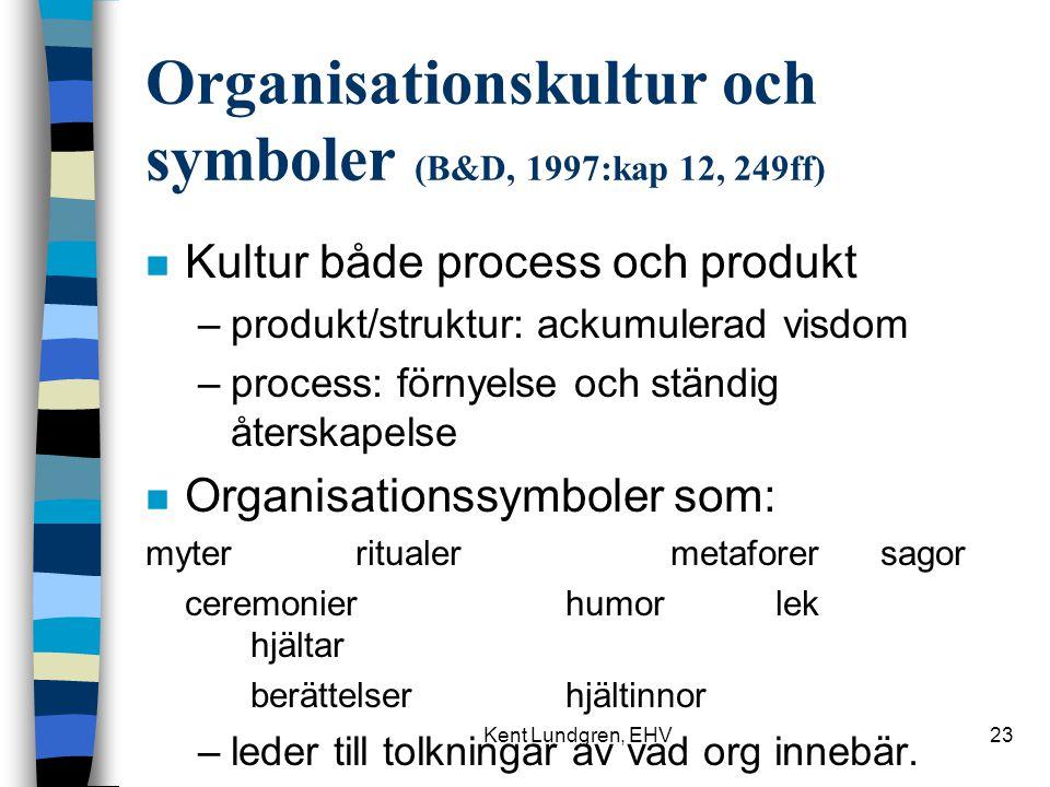 Organisationskultur och symboler (B&D, 1997:kap 12, 249ff)
