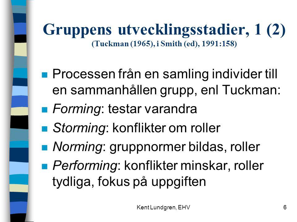 Gruppens utvecklingsstadier, 1 (2) (Tuckman (1965), i Smith (ed), 1991:158)