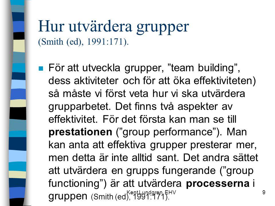 Hur utvärdera grupper (Smith (ed), 1991:171).