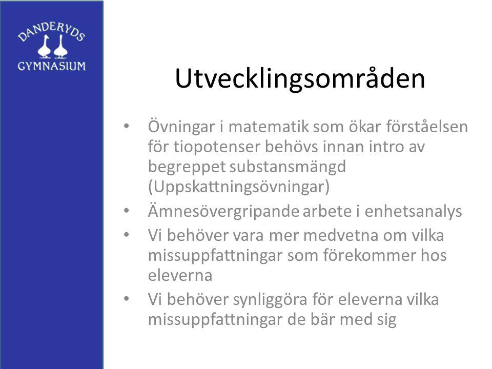 Utvecklingsområden Övningar i matematik som ökar förståelsen för tiopotenser behövs innan intro av begreppet substansmängd (Uppskattningsövningar)