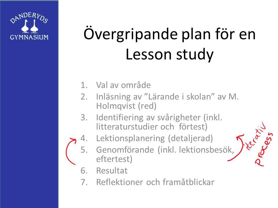 Övergripande plan för en Lesson study