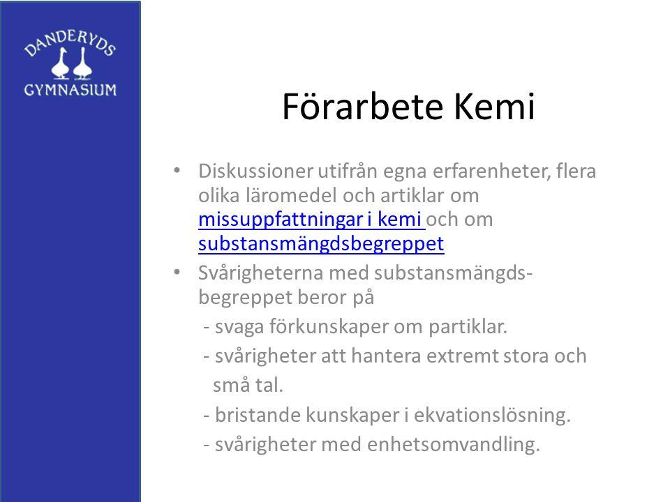 Förarbete Kemi Diskussioner utifrån egna erfarenheter, flera olika läromedel och artiklar om missuppfattningar i kemi och om substansmängdsbegreppet.