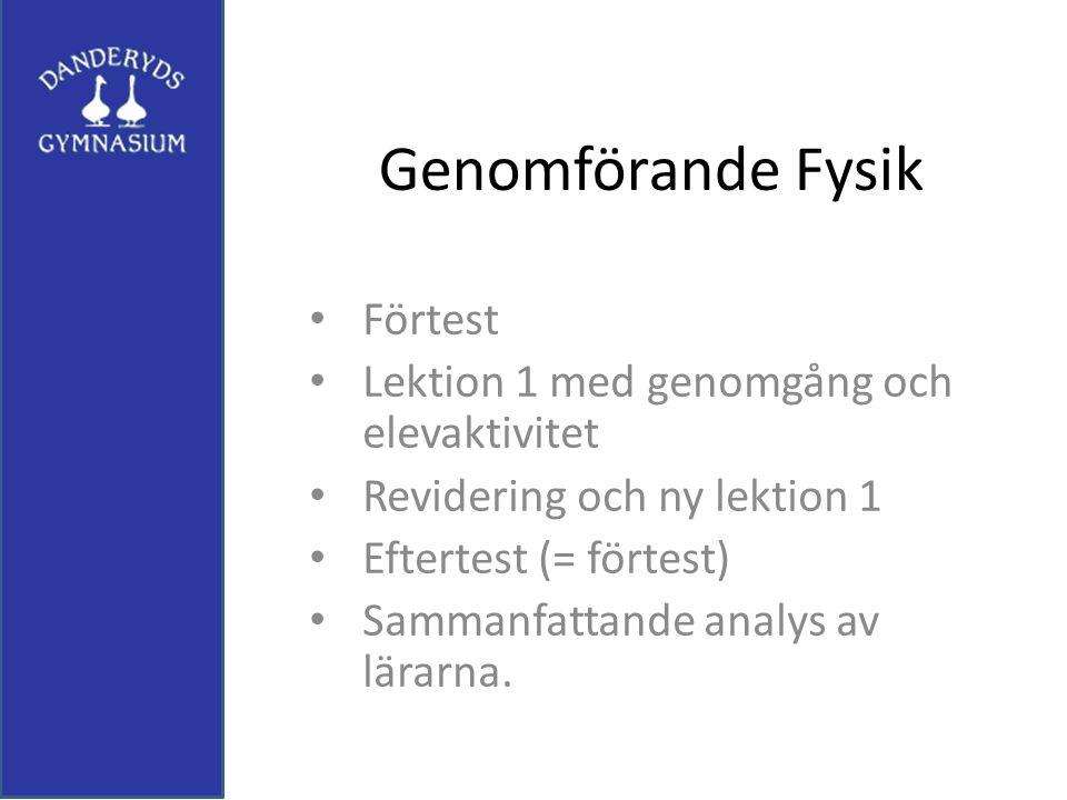 Genomförande Fysik Förtest Lektion 1 med genomgång och elevaktivitet
