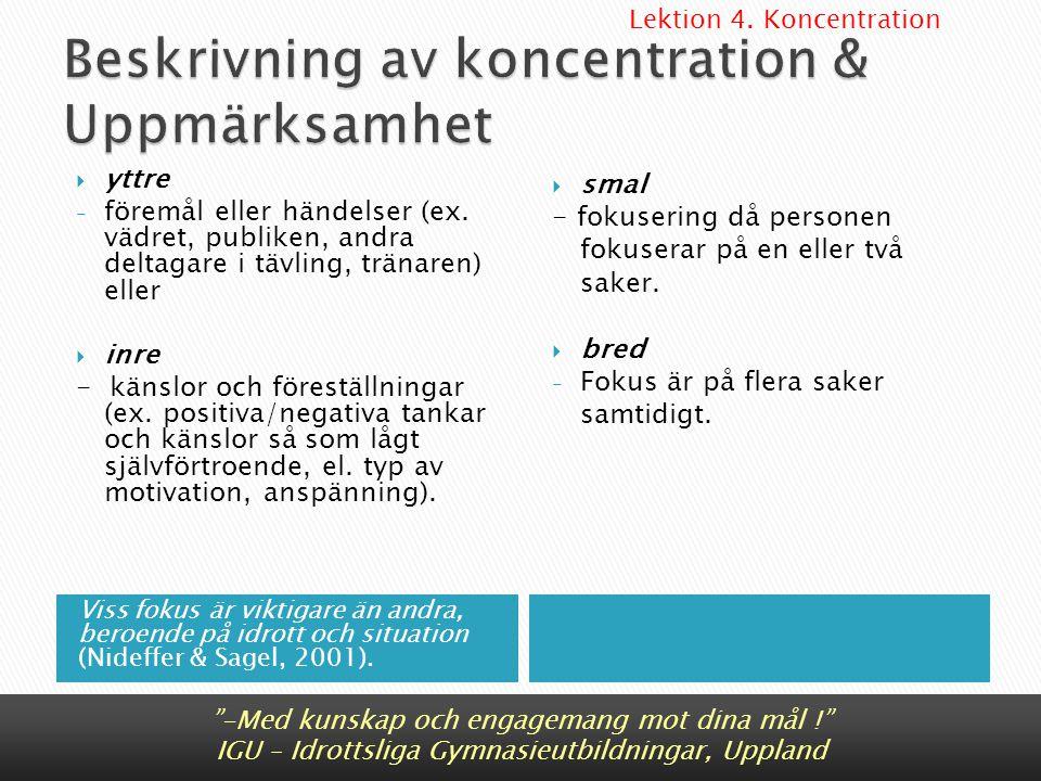Beskrivning av koncentration & Uppmärksamhet