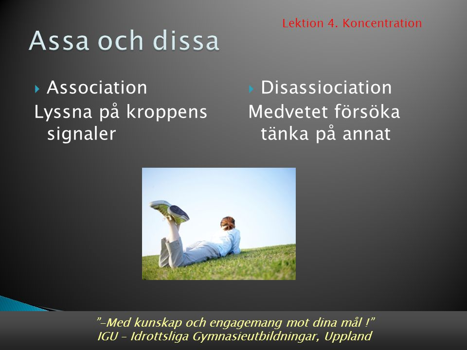 Assa och dissa Association Lyssna på kroppens signaler Disassiociation