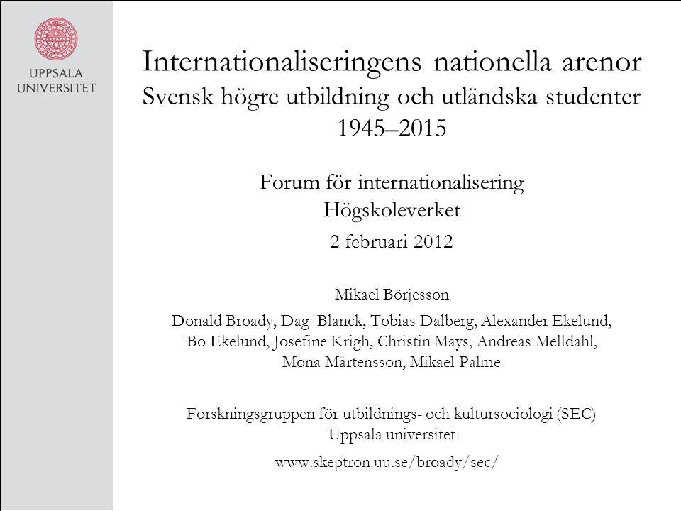 Forum för internationalisering Högskoleverket