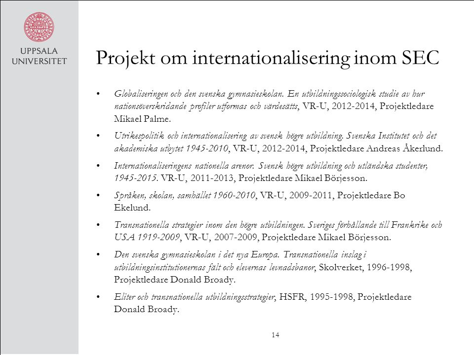Projekt om internationalisering inom SEC