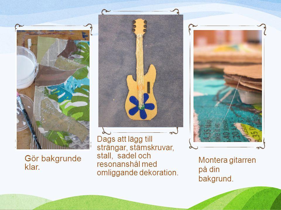Dags att lägg till strängar, stämskruvar, stall, sadel och resonanshål med omliggande dekoration.
