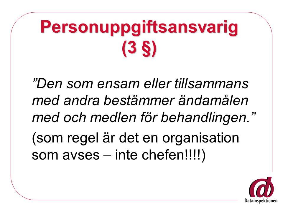 Personuppgiftsansvarig (3 §)