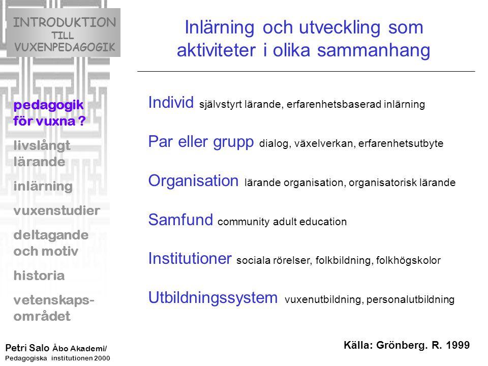 Inlärning och utveckling som aktiviteter i olika sammanhang