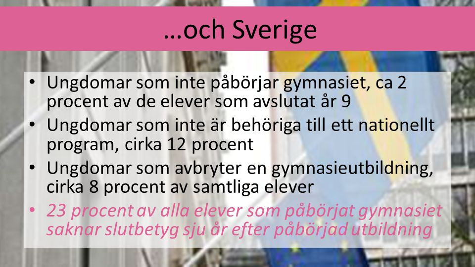 …och Sverige Ungdomar som inte påbörjar gymnasiet, ca 2 procent av de elever som avslutat år 9.