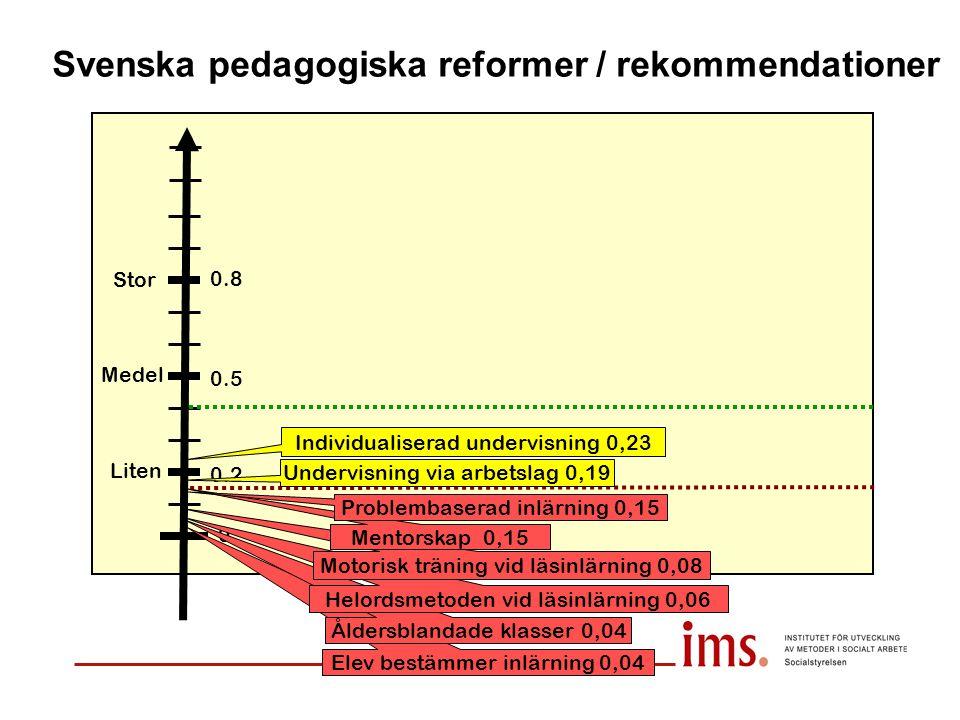 Svenska pedagogiska reformer / rekommendationer