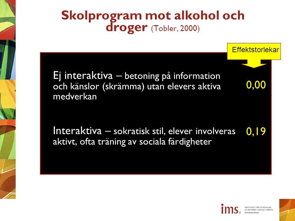 Skolprogram mot alkohol och droger (Tobler, 2000)