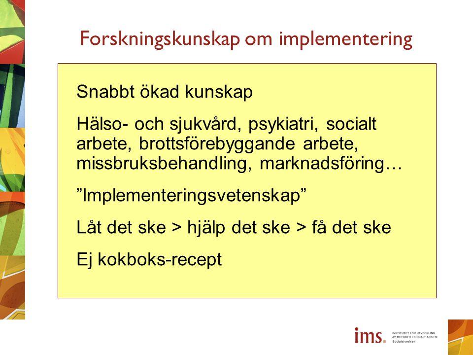 Forskningskunskap om implementering