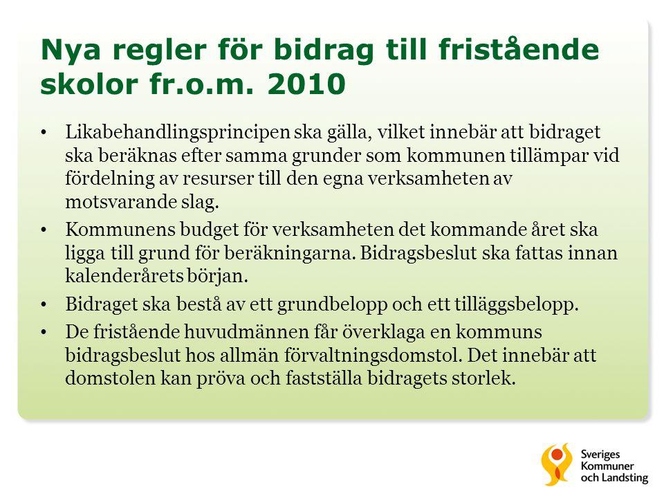Nya regler för bidrag till fristående skolor fr.o.m. 2010