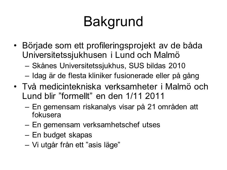 Bakgrund Började som ett profileringsprojekt av de båda Universitetssjukhusen i Lund och Malmö. Skånes Universitetssjukhus, SUS bildas 2010.