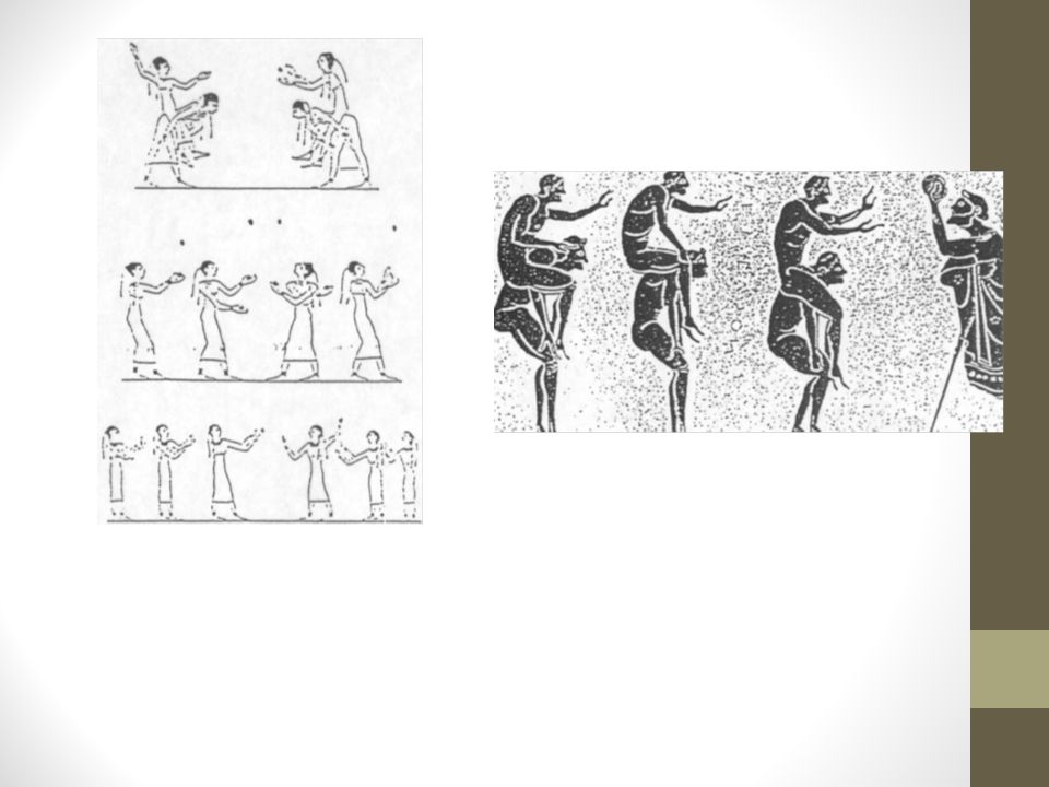 Bild vä: Egyptiska bollspel. Efter väggmålningar i gravar. OBS