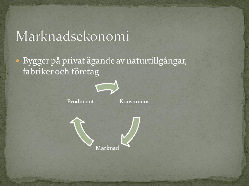 Marknadsekonomi Bygger på privat ägande av naturtillgångar, fabriker och företag. Konsument. Marknad.