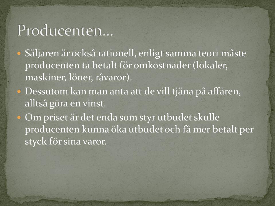Producenten… Säljaren är också rationell, enligt samma teori måste producenten ta betalt för omkostnader (lokaler, maskiner, löner, råvaror).