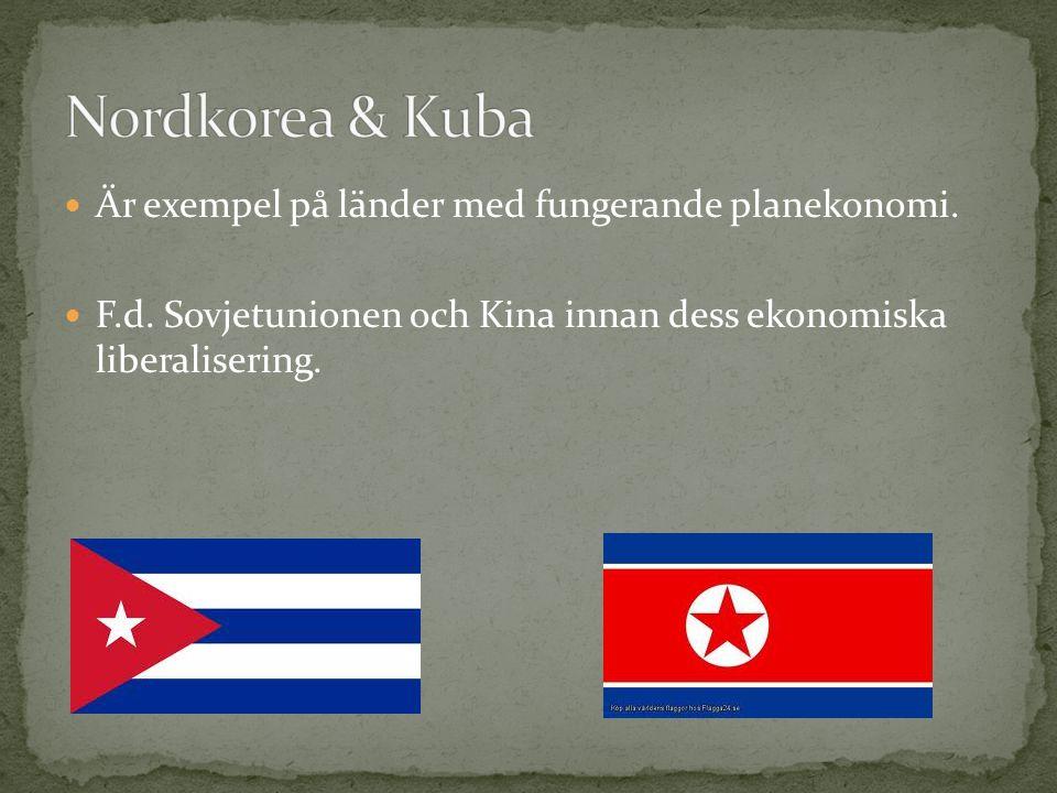 Nordkorea & Kuba Är exempel på länder med fungerande planekonomi.
